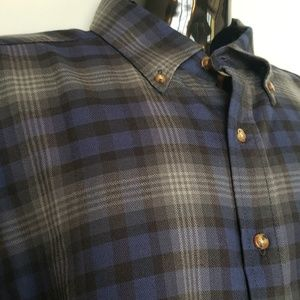 Men's Pendleton Blue Grey Wool Plaid Shirt L